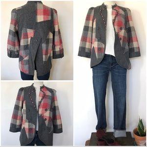 Patchwork 3/4 sleeve long line jacket